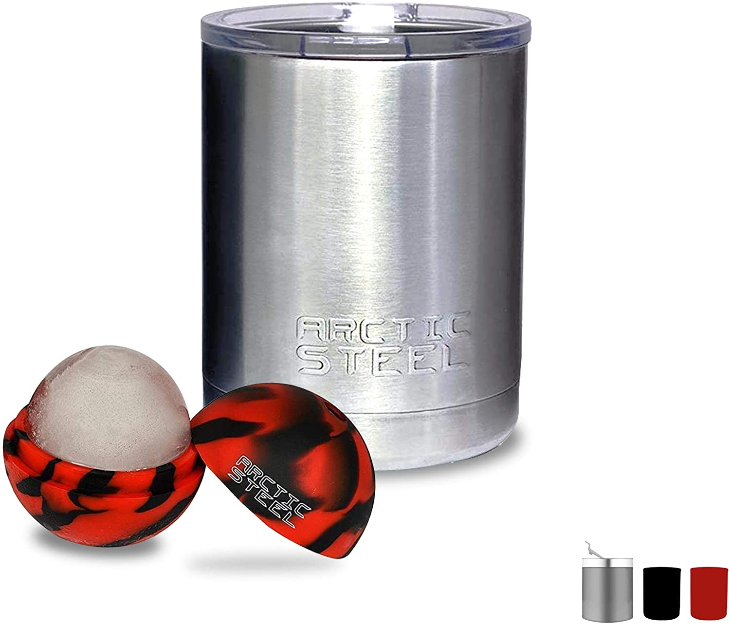 Arctic Steel 10oz Insulated Lowball Tumbler with Lid - Perfect for Coffee, Whiskey, and Cocktails - Durable Stainless Steel, Powder Coated Double Wall Vacuum Mug – Stainless Steel with Ice Ball