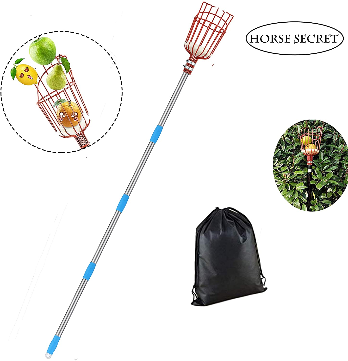 HORSE SECRET Fruit Picker Tool-5.5 FT Adjustable Fruit Picker with Basket Apple Orange Pear Picker with Light-Weight Stainless Steel Pole and Extra Fruit Carrying Bag
