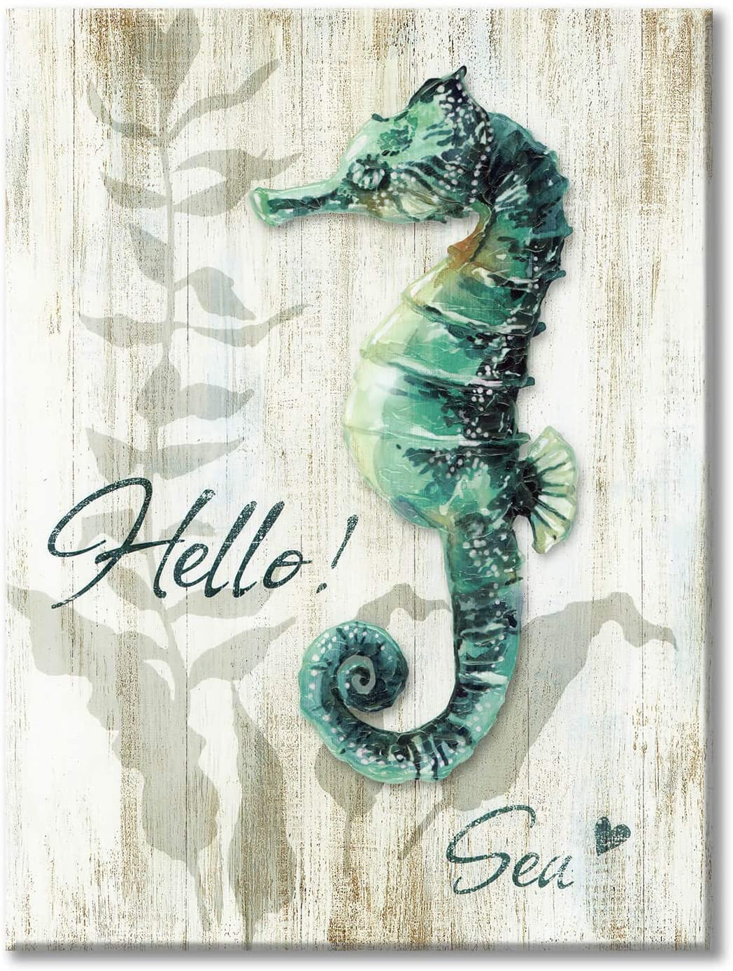 Marine Life Picture Wall Art: Rustic Seahorse Artwork with Wooden Background Painting on Canvas for Bedroom (24'' x 18'' x 1 Panel)