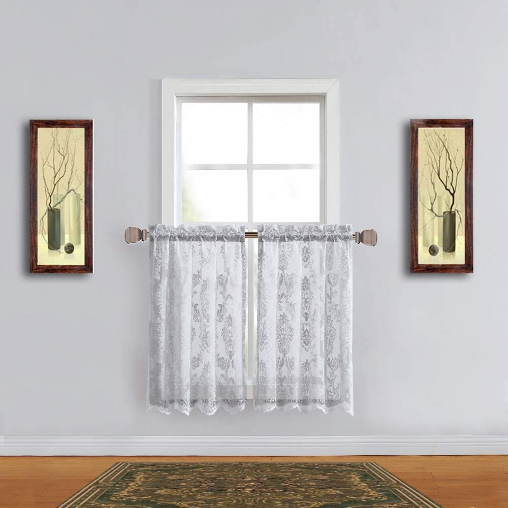 Warm Home Designs Pair of 30 Inches Wide x 36 Inches Long Silver Color Knitted Lace Kitchen Tier Curtains in Charming Flower Pattern. Add Swags & Valance For Ultimate Elegant Look. FI Silver Tiers 36