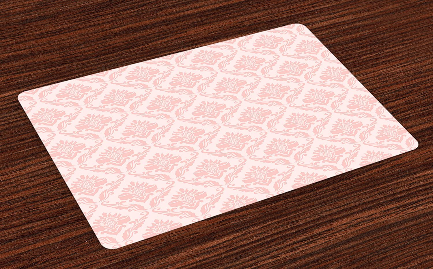 Lunarable Blush Place Mats Set of 4, Damask Motif Retro Design of Floral Pattern with Swirling Petals and Branches, Washable Fabric Placemats for Dining Room Kitchen Table Decor, Pink White