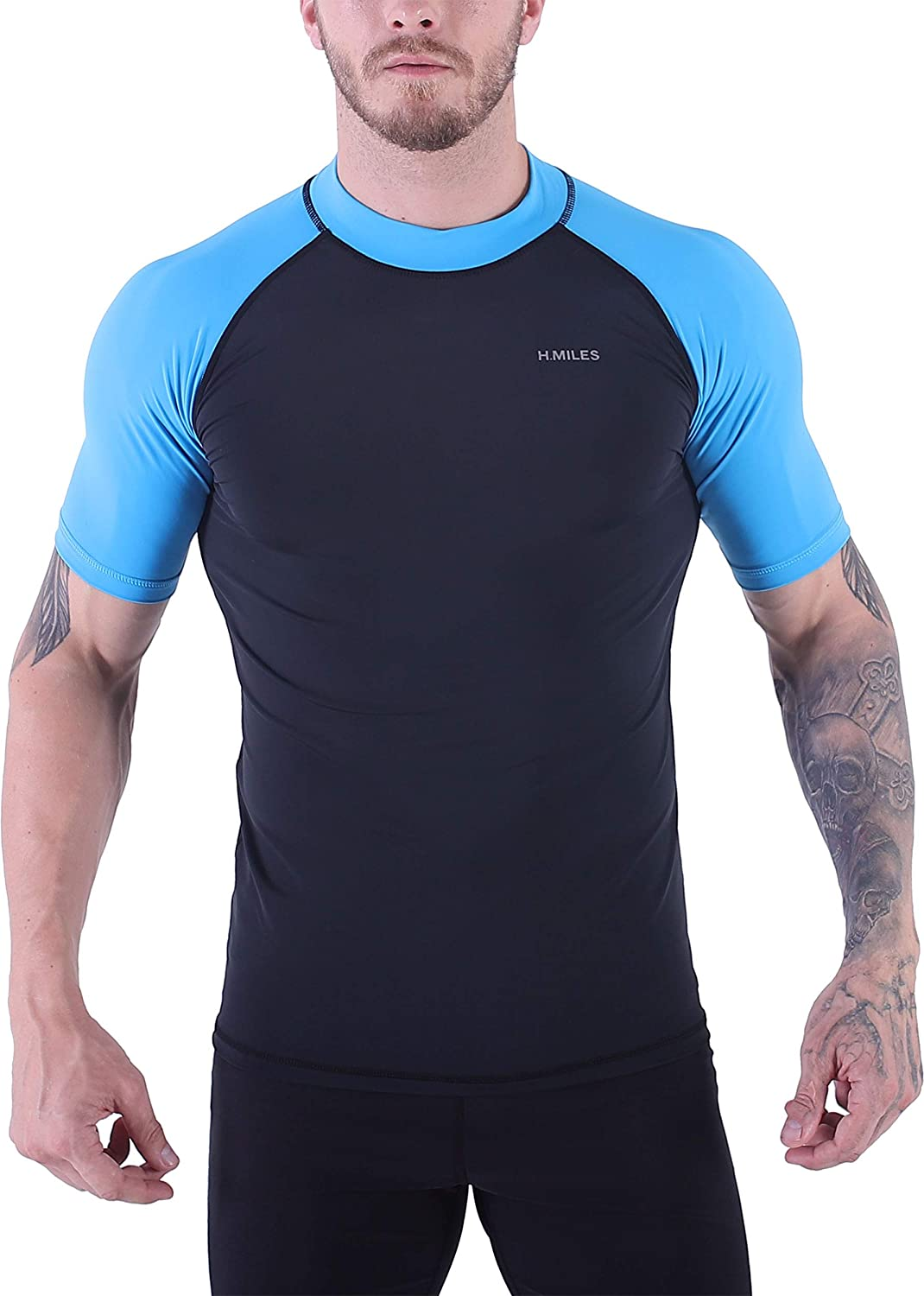 Mens UV Protection Short Sleeve Rash Guard Swim Shirt Quick Dry Athletic Surfing Tops S-3XL
