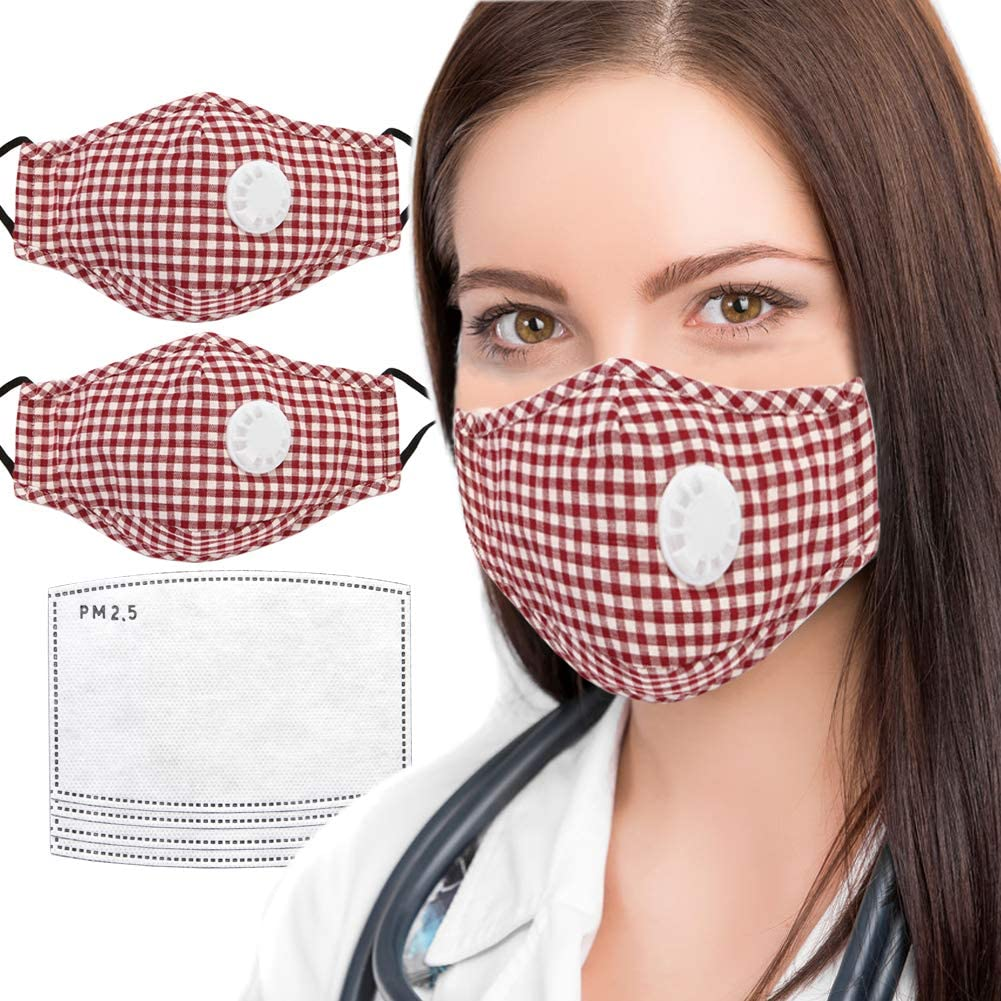 2PCS PM2.5 Red Plaid Dust Mask for Adult with 4 Activated Carbon Filters, Adjustable Reuseable Washable Safety Cotton Mask