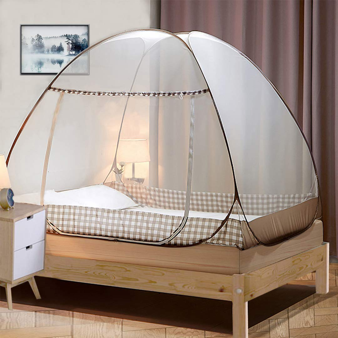 Tinyuet Mosquito Net, 100x200cm Bed Canopy, Portable Travel Mosquito Net, Foldable Single Door Mosquito Camping Curtain, Easy Dome Mosquito Nets - Brown Rim