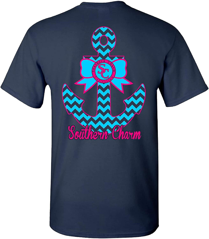 Southern Charm Anchor on Navy Short Sleeve T Shirt