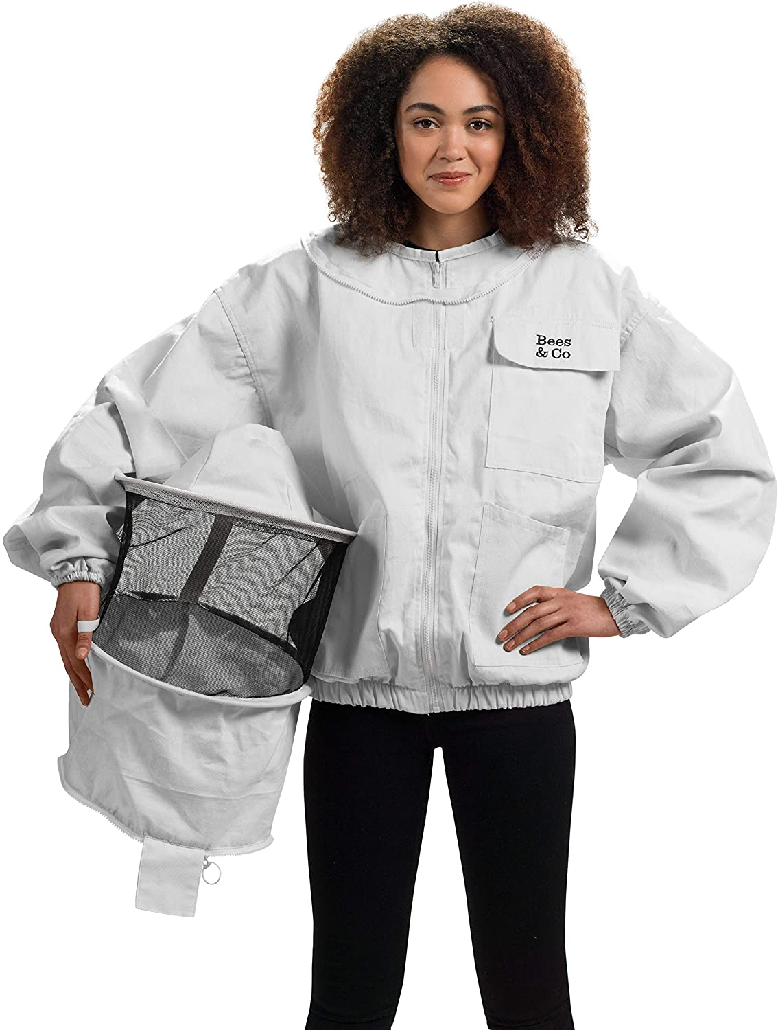 Bees & Co K73 Natural Cotton Beekeeper Jacket with Round Veil
