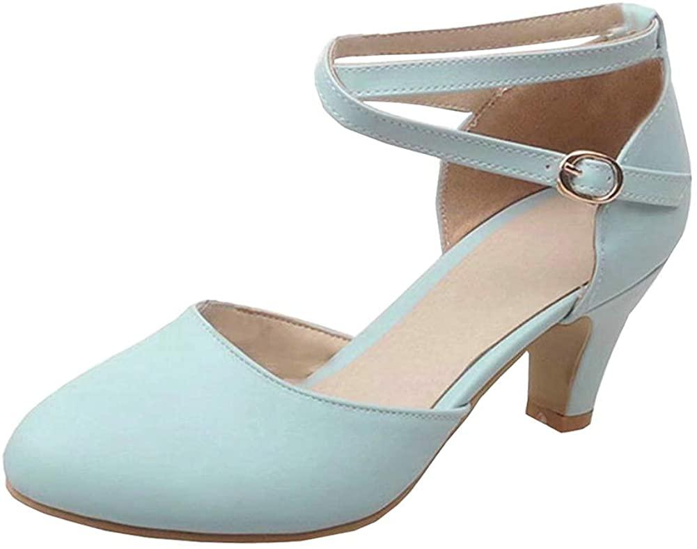 LUXMAX Womens Kitten Heel D orsay Pumps Cross Strap Dress Court Shoes Size 7.5 M US,Blue