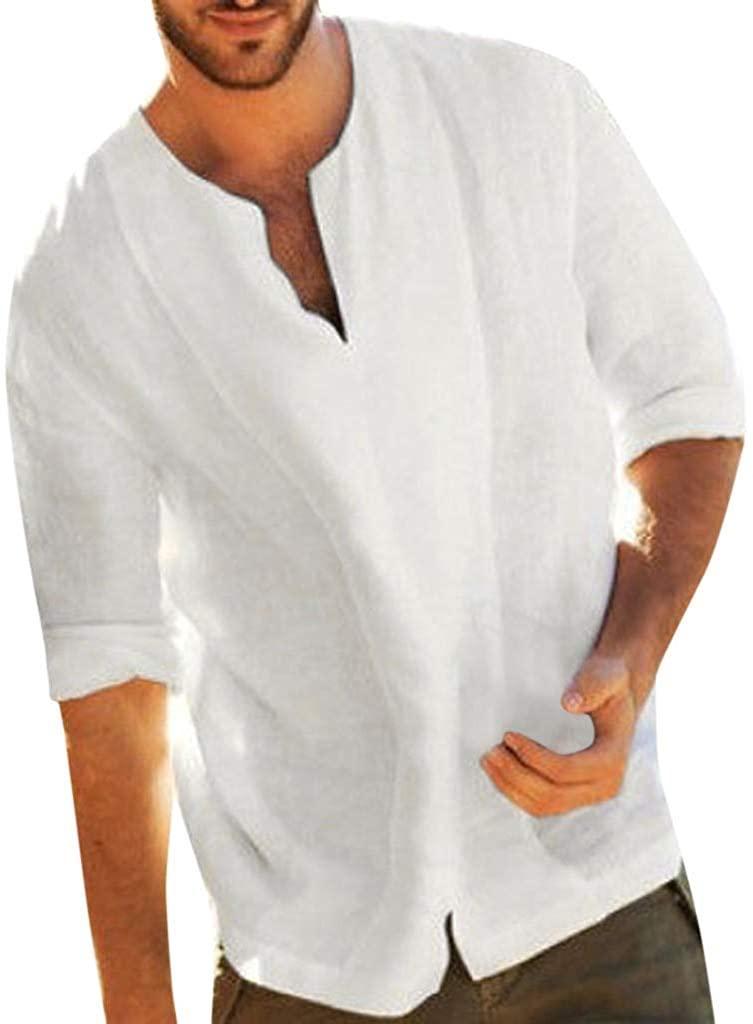 Men's Baggy Cotton Blend Solid Color Three Quarter V Neck T Shirts Tops