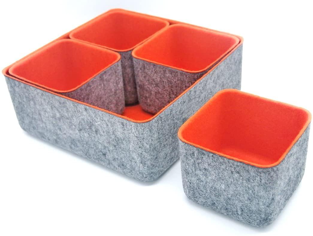 Welaxy Felt Drawer Organizer Trays Desktop Organizer Bins Storage bin, 5 Pack (Orange)