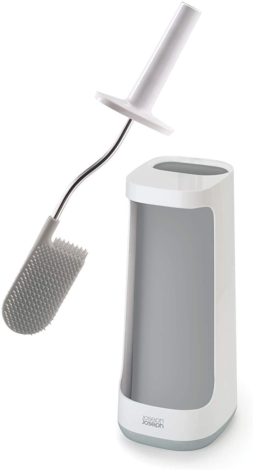 Joseph Joseph Flex Toilet Brush with Holder and Storage Caddy, Gray