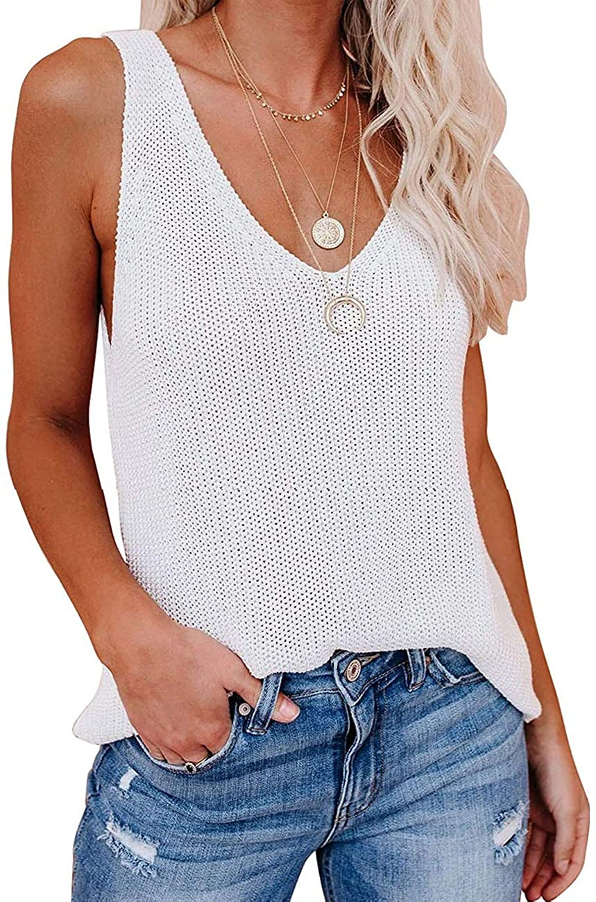 MUMUBREAL Women's Knitted Tank Top Summer Casual Loose Fit Camisole V-Neck Sleeveless Blouse Tee