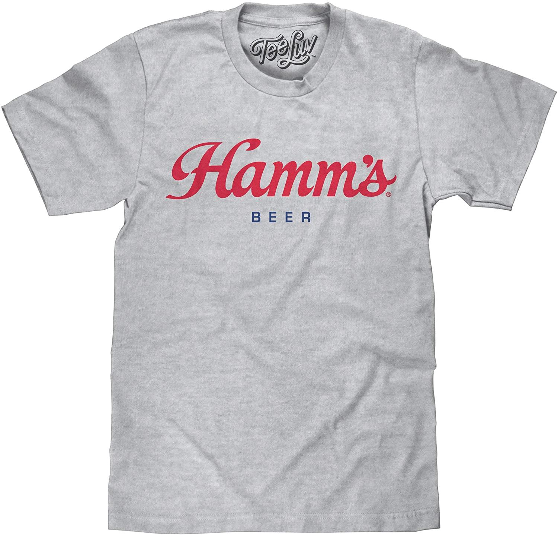 Tee Luv Hamm's Beer T-Shirt - Hamms Beer Red Script Shirt (Grey)
