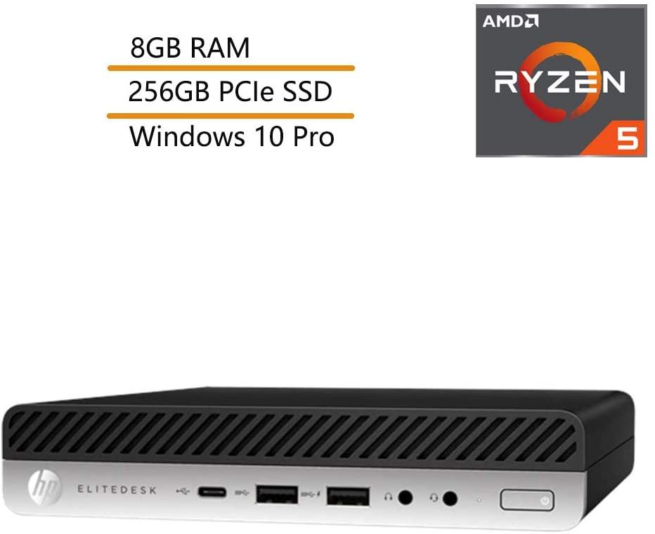 HP EliteDesk 705 G4 Business Mini Desktop Computer, AMD Quad-Core Ryzen 5 Pro 2400GE up to 3.8GHz(Beats i7-7500U), 8GB DDR4 RAM, 256GB PCIe SSD, 802.11ac WiFi, Windows 10 Pro, iPuzzle Mouse Pad