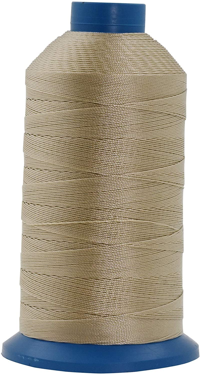 Mandala Crafts Bonded Nylon Thread for Sewing Leather, Upholstery, Jeans and Weaving Hair; Heavy-Duty (T135#138 420D/3, Khaki)