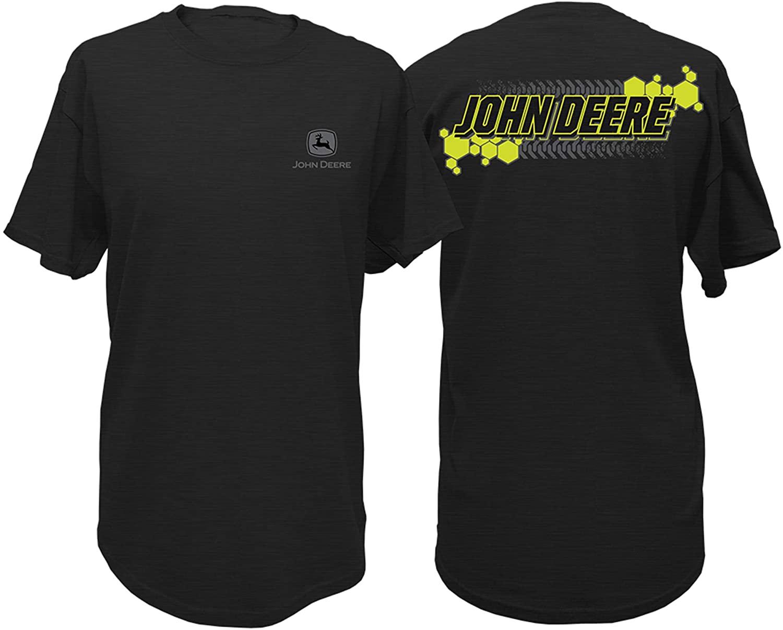 John Deere Men's Neon Tread Short Sleeve Shirt Black