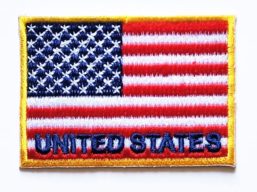 HHO Yellow Patch American Flag Patch National flag Patch Embroidered DIY Patches, Applique Sew Iron on for everyone Craft Patch for Bags Jackets Jeans Clothes Patch Jacket T-shirt Sew Iron on Costume