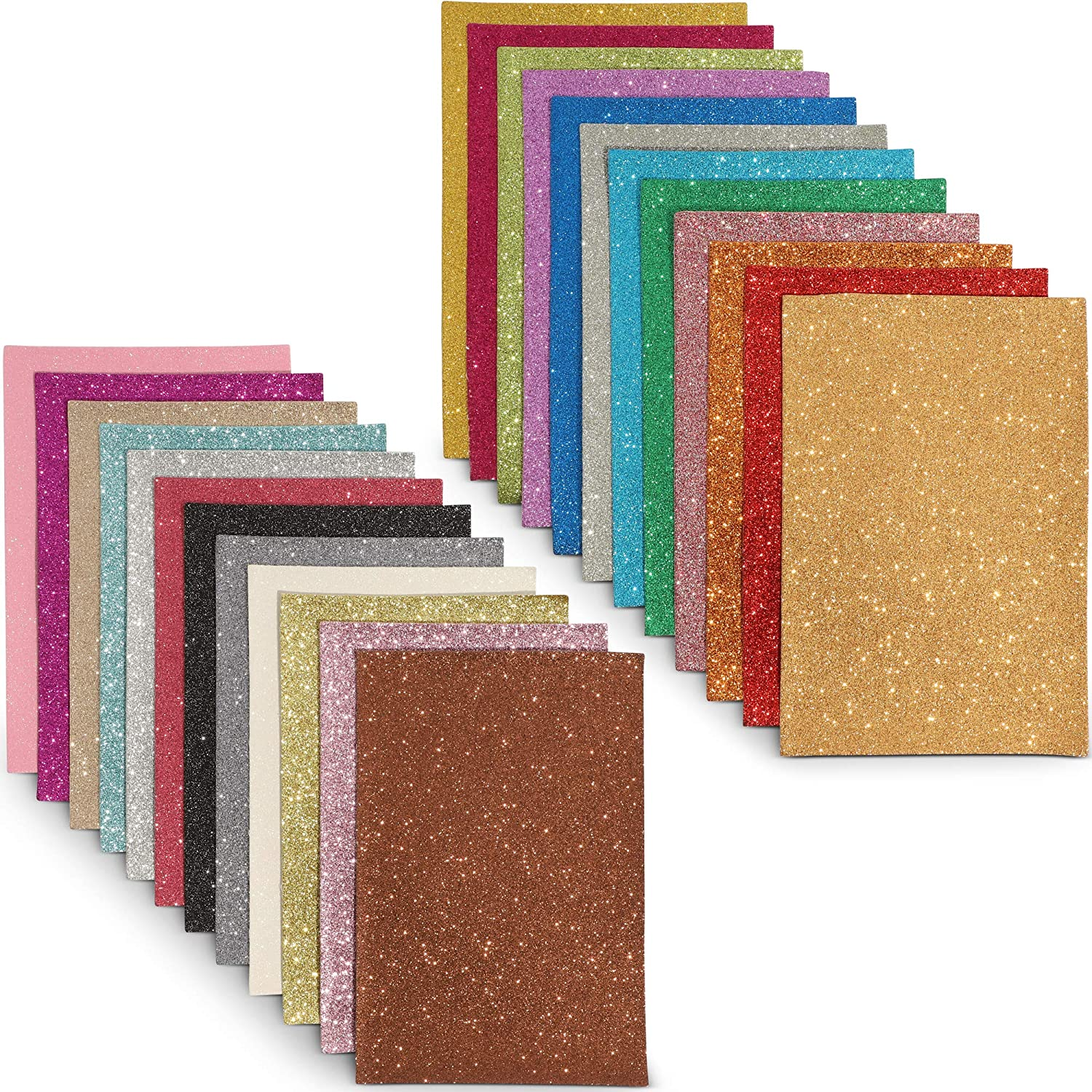 Glitter Fabric Sheets, Faux Leather (6 x 9 Inch, 24 Pack)