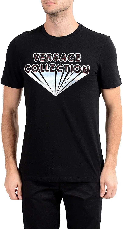 Versace Collection Men's Black Graphic Crewneck T-Shirt Sz US 2XL IT 56