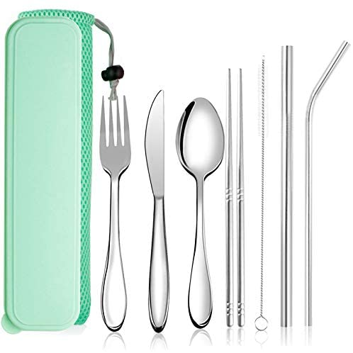 Portable Utensils, Reusable Flatware Silverware set with Case, Durable Travel Camping Cutlery Set, 8-Piece including Knife Fork Spoon Chopsticks Cleaning Brush Straws, Stainless Steel (Green)