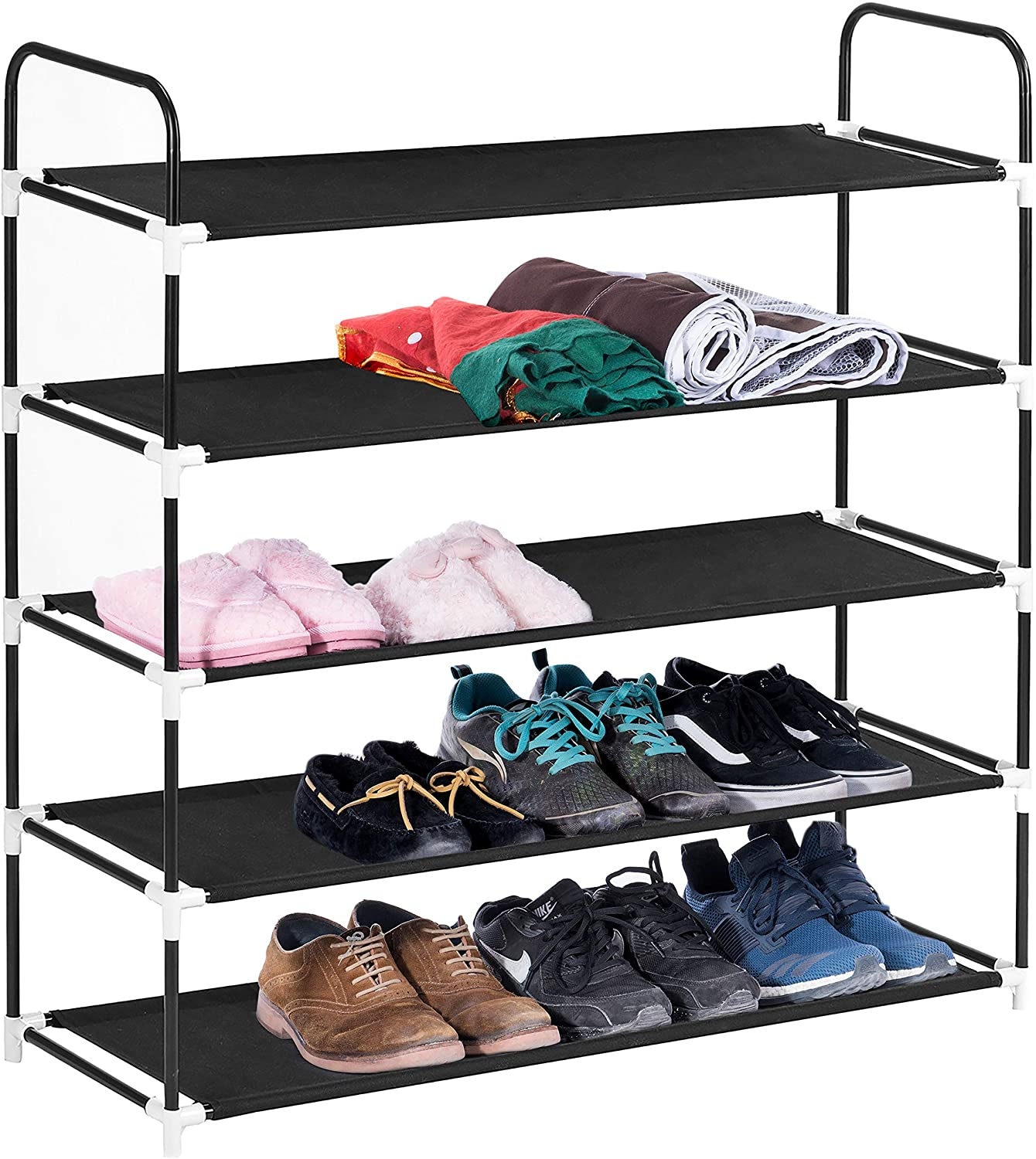 MaidMAX 5 Tiers Free Standing Shoe Rack for 25 Pairs of Shoes Organizer in Closet Entryway Hallway, Metal Frame and Fabric Shelves, 39.4 x 11.4 x 36.2'', Black