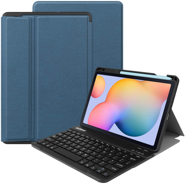 KuRoKo Galaxy Tab S6 lite 10.4 Wireless Keyboard Case with Pen Holder- TPU Backshell Folio Stand Cover with Removable Wireless Keyboard Compatiable with Galaxy Tab S6 lite 10.4 SM-P610/P615 (Navy)