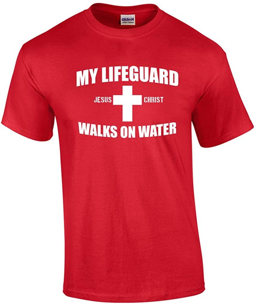 My Lifeguard Walks On Water Christian Tee Shirt Red