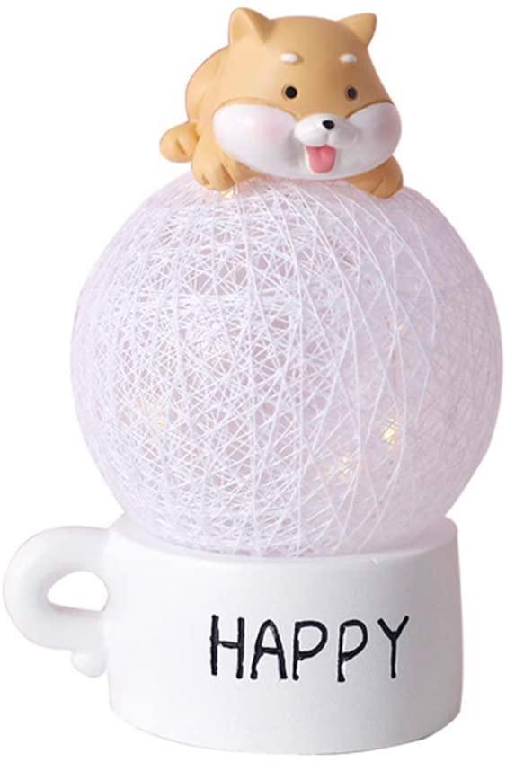 VOSAREA LED Night Light for Kids LED Cotton Rope Ball Light Shiba Inu Design Warm Lighting for Nursery Baby Bedroom Home Living Room (Pink)