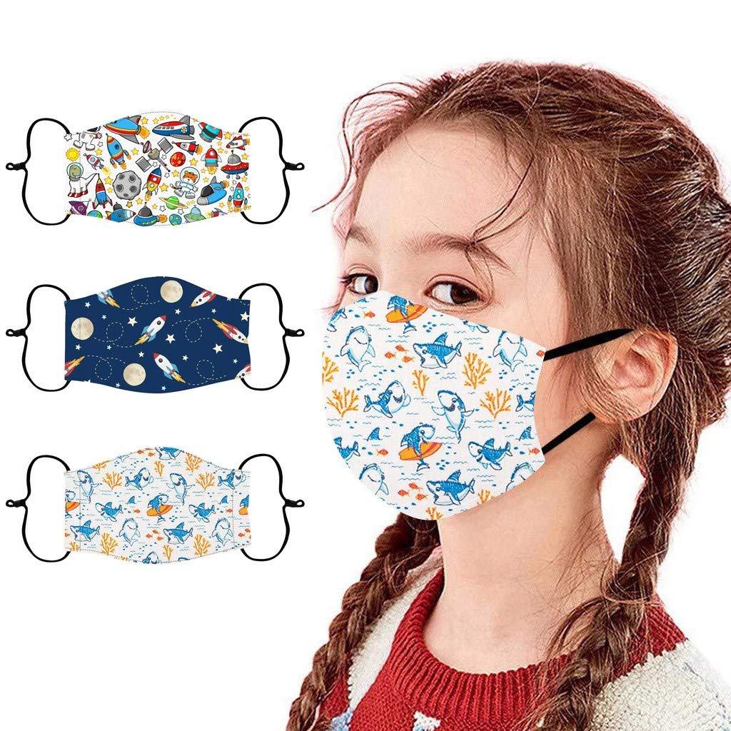 Gecau 3PC Kids School Face Cotton Bandana_Covering_MASK, Cool Adjustable Ear Loop Face Madks for Little Boys 3-13 Years,Reusable&Washable