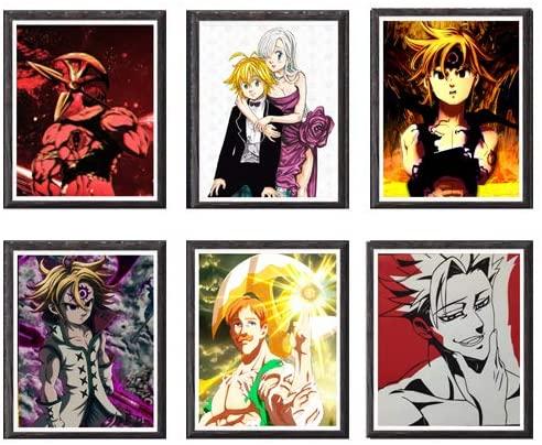 Seven Deadly Sins Escanor Ban Meliodas Manga Anime Canvas Art Print,8 x 10 Inches,No Frame,Set of 6 Pieces