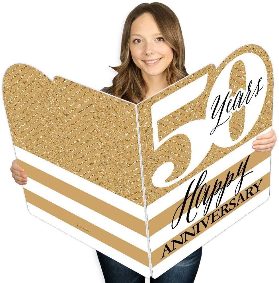 Big Dot of Happiness We Still Do - 50th Wedding Anniversary - Happy Anniversary Giant Greeting Card - Big Shaped Jumborific Card - 16.5 x 22 inches