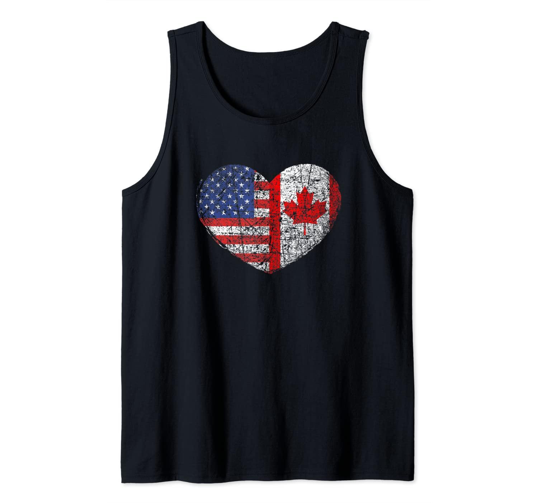 USA Canada Heart - Dual Citizenship Tank Top