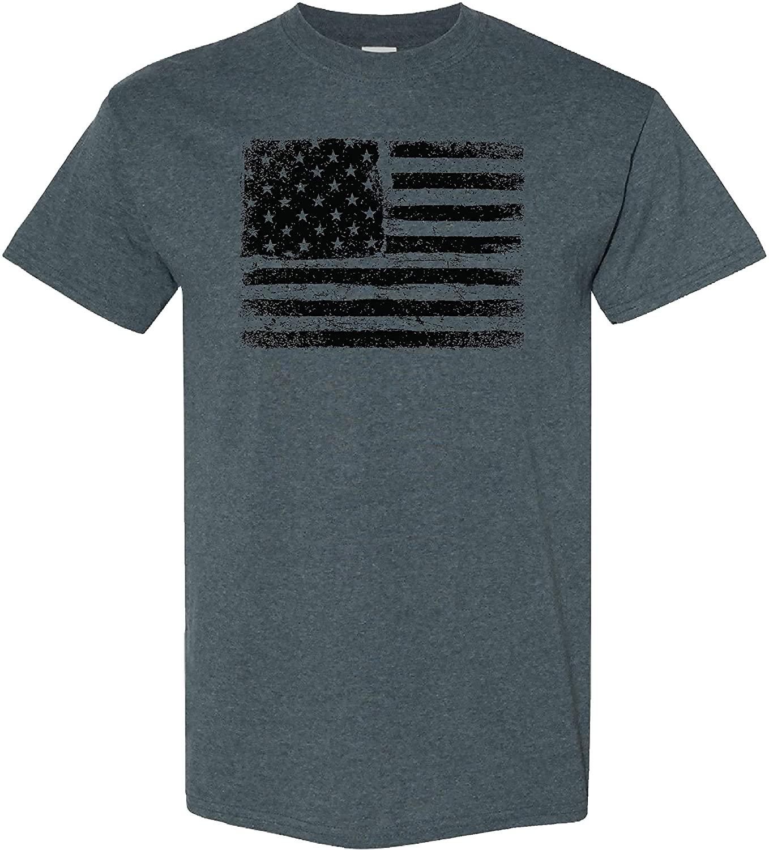 American US Flag on a Dark Heather T Shirt
