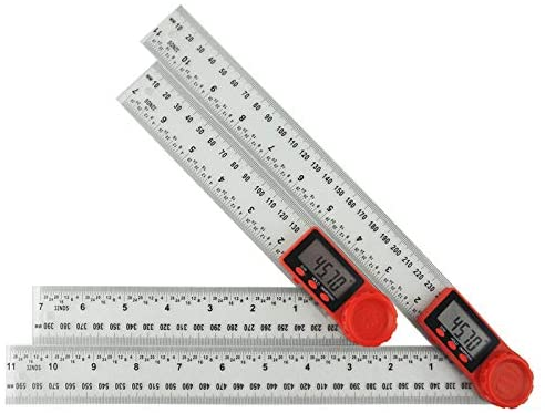 Digital Protractor Angle Finder ABS Plastic Ruler (200mm/7inch and 300mm/12inch) (Black - 200mm)