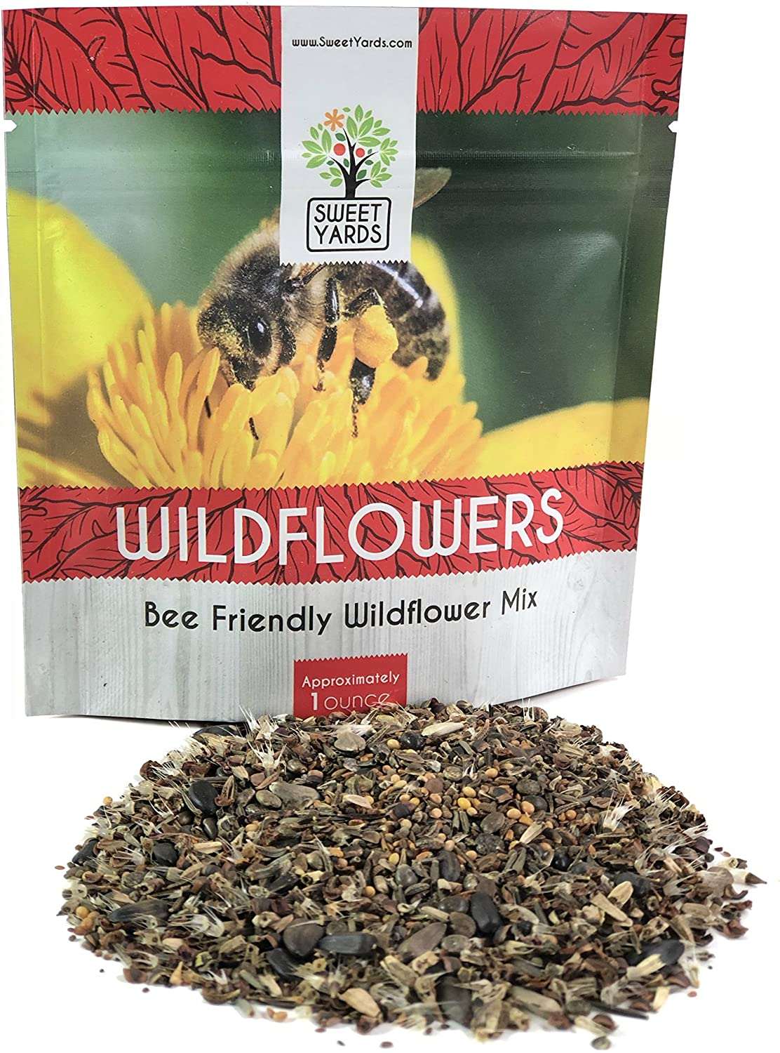 Bee Friendly Wildflower Seed Mix - Bulk 1 Ounce Packet - Over 7,500 Open Pollinated Seeds - Save The Bees!