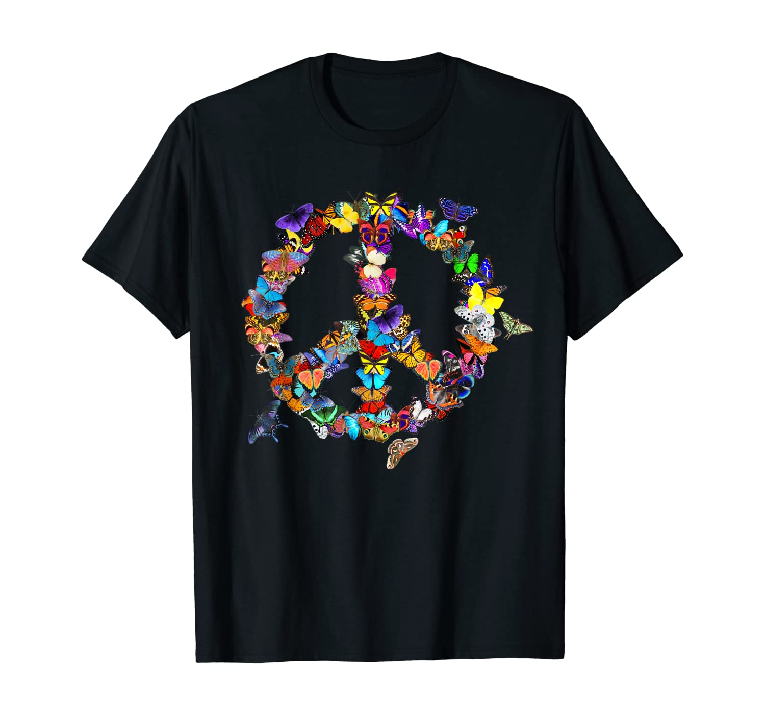 Butterfly Peace Sign Retro 60's 70's Colorful Butterflies T-Shirt