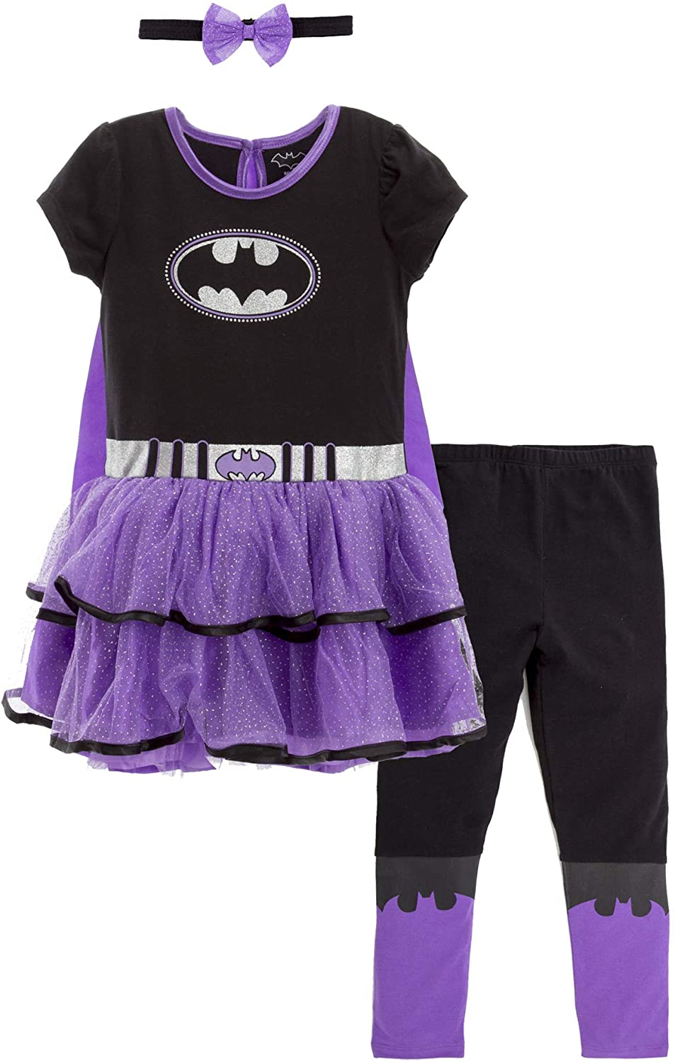 Warner Bros DC Comics Supergirl Big Girls Costume Dress Cape Leggings & Headband 10/12, Batgirl, 44116