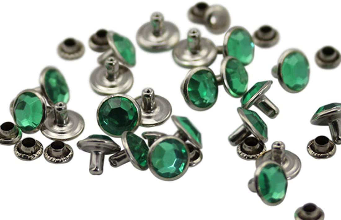 9mm Green Peridot H110 Acrylic Rhinestone Rivets for Garments Leather, Sewing and Crafts DIY Jewelry Making in Bulk Bracelet Handbags Flipflops - 40 Pieces