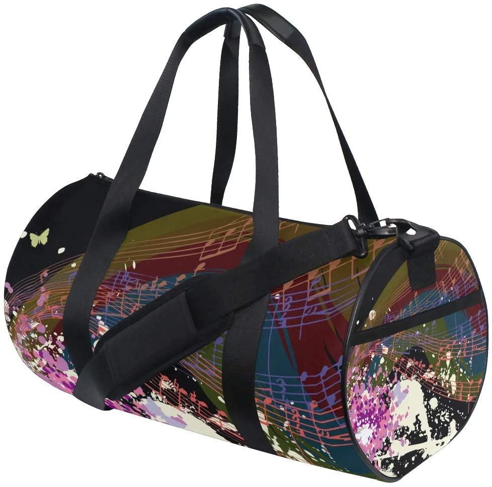 Duffel Music Score Butterfly Fitness Gym Bags Canvas Sport Shoulder Bag for Men Women