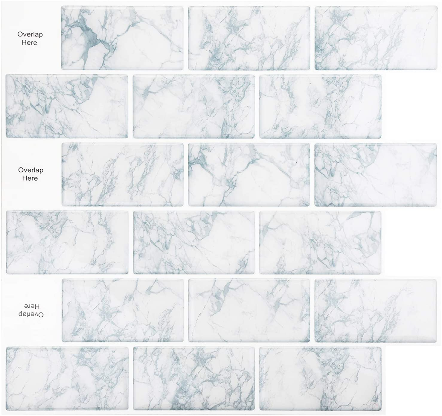 HomeyMosaic Peel and Stick Tile for Kitchen Backsplash,Stick on Tiles for Kitchen,12x12 inches Snowflake Marble White Subway Tile with White Grout(10-Sheets)