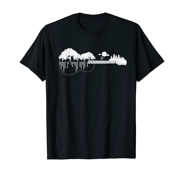 Disc Golf Flying Disc - Disc Golf Sunset Guitar T-Shirt