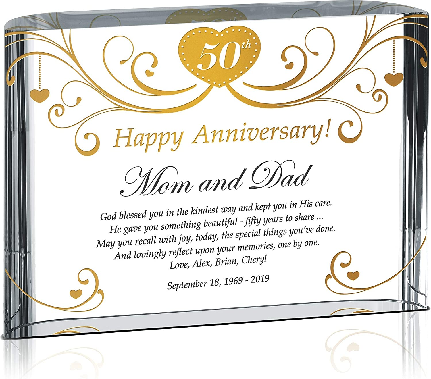 Crystal Central Personalized Religious Golden 50th Wedding Plaque for Parents, Customized with Anniversary Date, Unique 50th from Son, Daughter, Grandchildren
