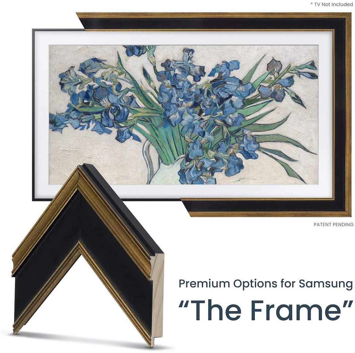 Deco TV Frames - Antique Gold & Black Frame Custom for Samsung The Frame TV (55