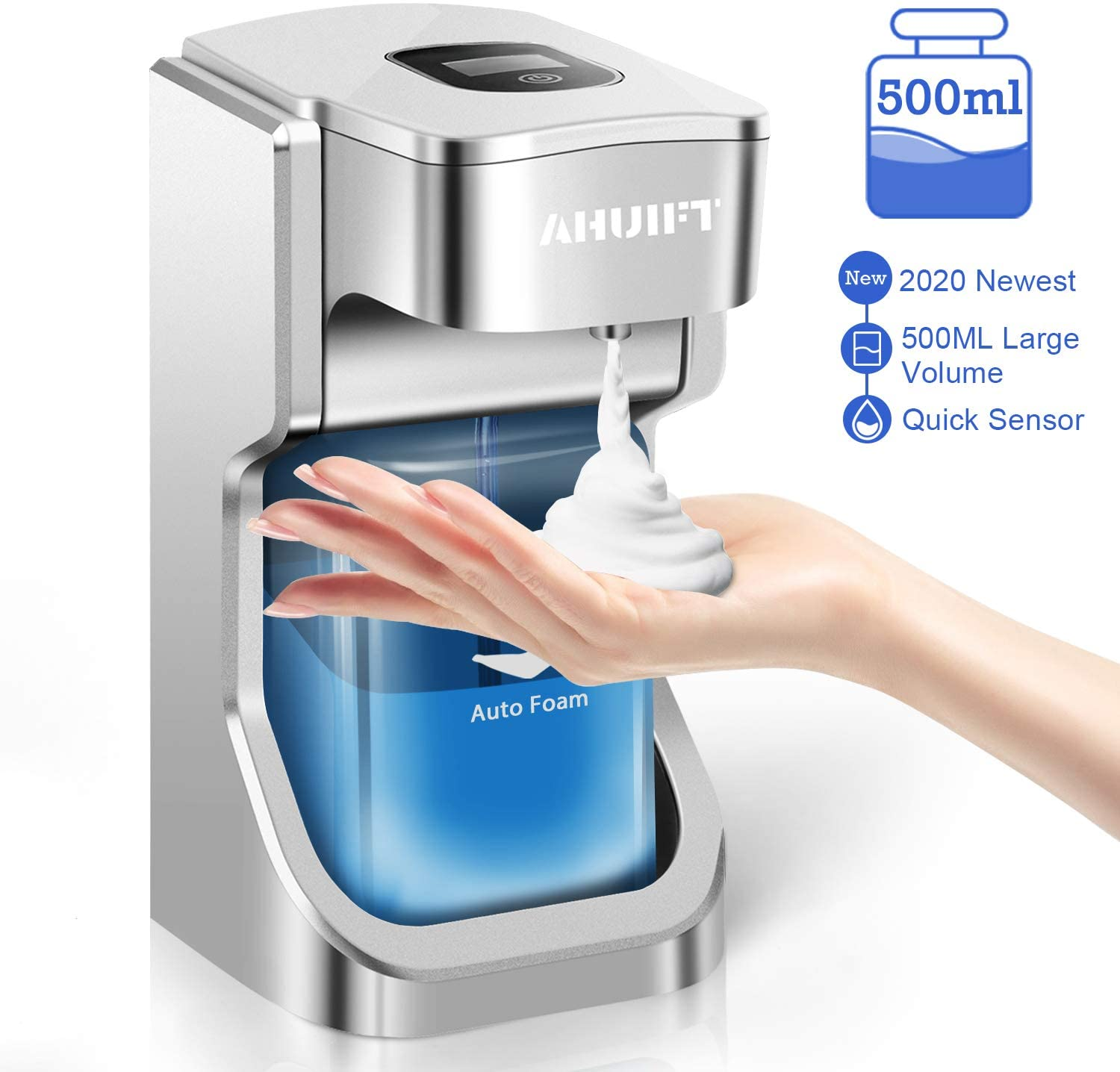 AHUIFT Automatic Soap Dispenser, 500ML Touchless Foaming Electric Soap dispensers, LCD Screen ABS Infrared Motion Sensor Dish Hand-Free Auto Wall Mounted Adjustable Switches for Kitchen Bathroom