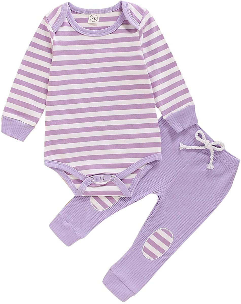 Toddler Baby Boys Girls Clothes Long Sleeve Stripe Sweatsuit and Pants Outfits Set