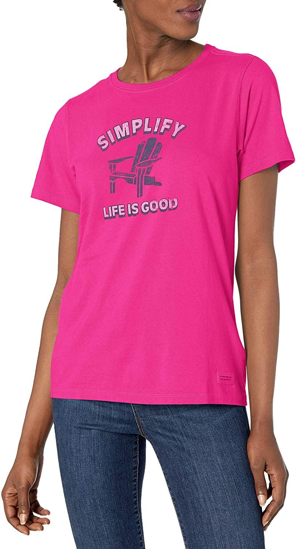 Life is Good Women's Simple Adirondack Crusher Tee, Small, Bold Pink