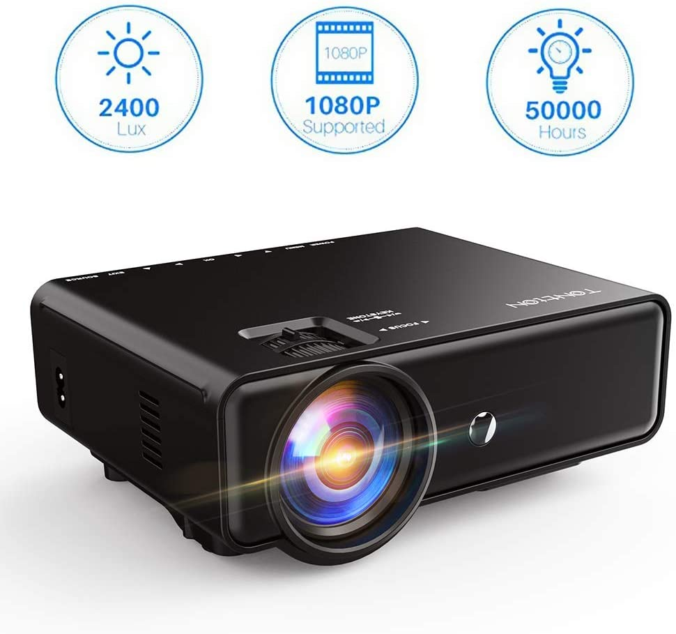 Projector, Tontion 2400 Lux Video Projector supporting 1080P -50,000 Hour LED Full HD Mini Projector, Compatible with DHgate Fire TV Stick, HDMI, VGA, USB, AV, SD for Home Theater