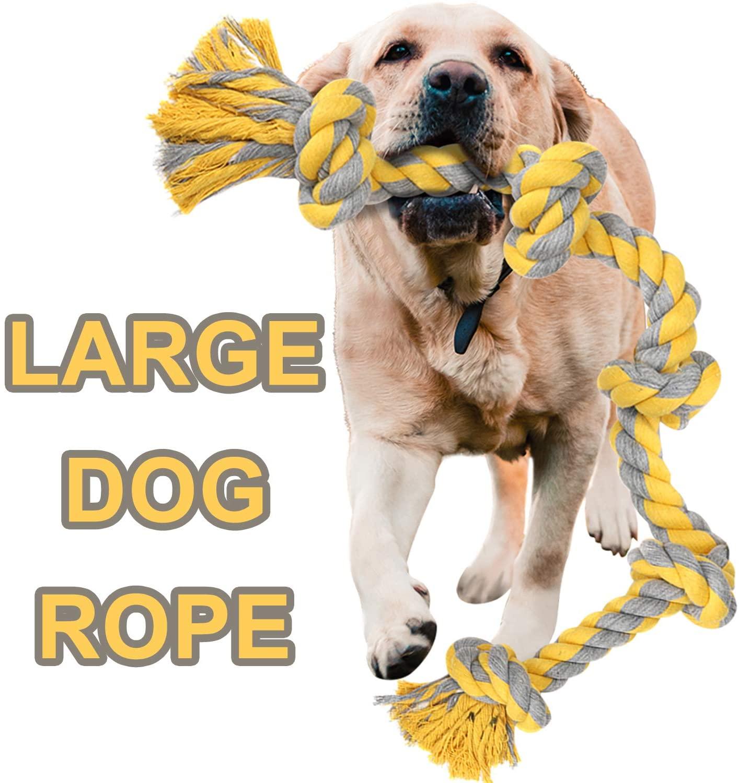ayisoro Large Dog Rope Toys for Aggressive Chewers Dog Rope Pet Tug Toy Cotton Rope Dog Chew Toys for Large Dogs Tug of War Toy Strong Chewing Teething Training Interactive Dog Rope Toy Large