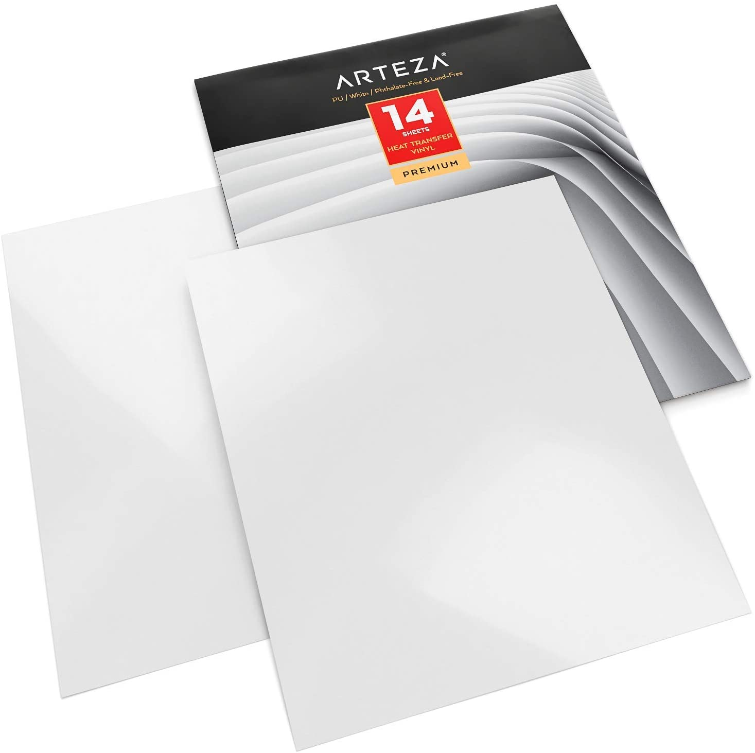 Arteza Heat Transfer Vinyl White HTV Bundle, 14 Iron On Sheets, 10x12 Inches, Flexible & Easy to Weed, Use with Any Craft Cutting Machine, Boxed