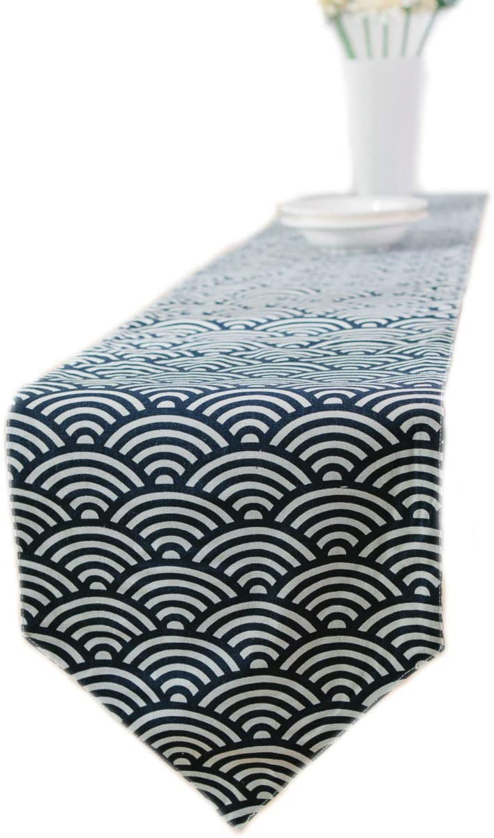 MorroMorn Japanese Table Runner/Placemats Sets, Classical Navy Burlap Linen (Fish Scales, 12