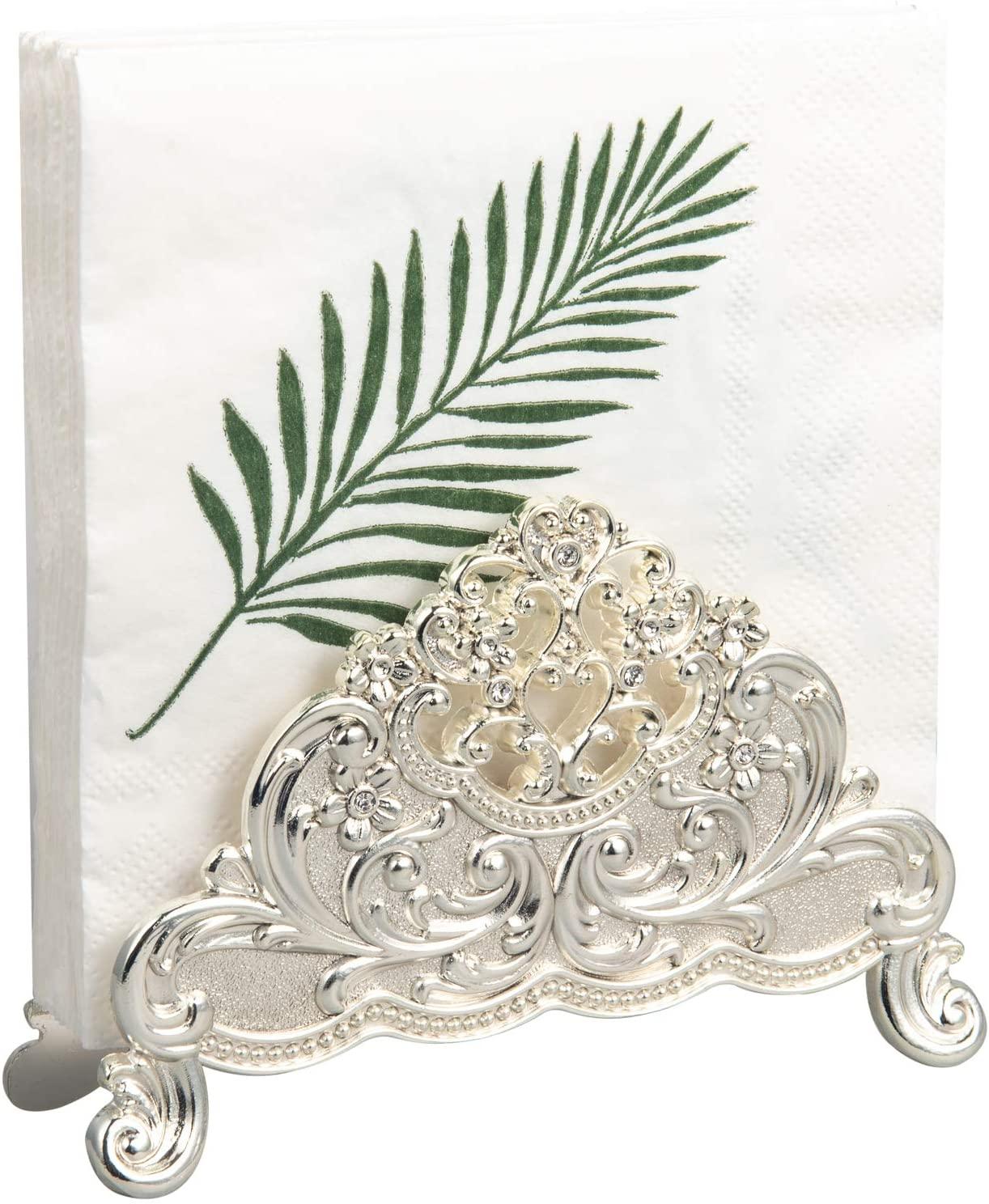Feyarl Napkin Paper Tissues Holder Table Top Vintage Decorative Napkin Holder Stand (Silver)